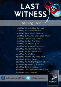 Image Of 'Last Witness' Blog Tour Banner By Carys Jones