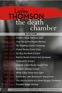 Image Of The Blog Tour Banner For The Book 'The Death Chamber' By Lesley Thomson