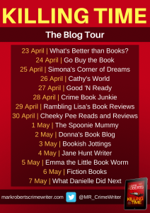 Image Of The Blog Tour Banner For The Book 'Killing Time' By Author Mark Roberts