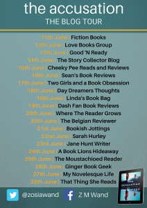 Image Of The Blog Tour Banner For The Book 'The Accusation' By Author Zosia Wand