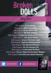 Image Of The Blog Tour Banner For The Book 'Broken Dolls' By Author Sarah Flint