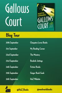 Image Of The Blog Tour Banner For The Book 'Gallows Court' By Author Martin Edwards