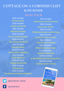 Image Of The Blog Tour Banner For The Book 'Cottage On A Cornish Cliff' by Author Kate Ryder