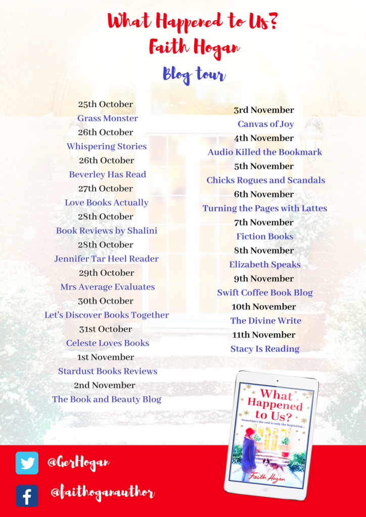 Image Of The Second Part Of The Blog Tour Banner For The Book 'What Happened To Us' By The Author Faith Hogan