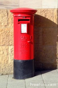 Picture of an English red post box - generic image to link to the mailbox Monday meme