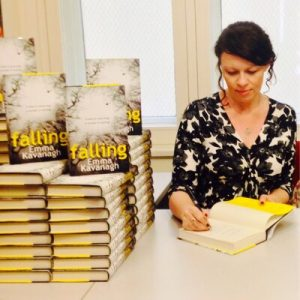 Image Of Author Emma Kavanagh Signing Copies Of 'Fallen'
