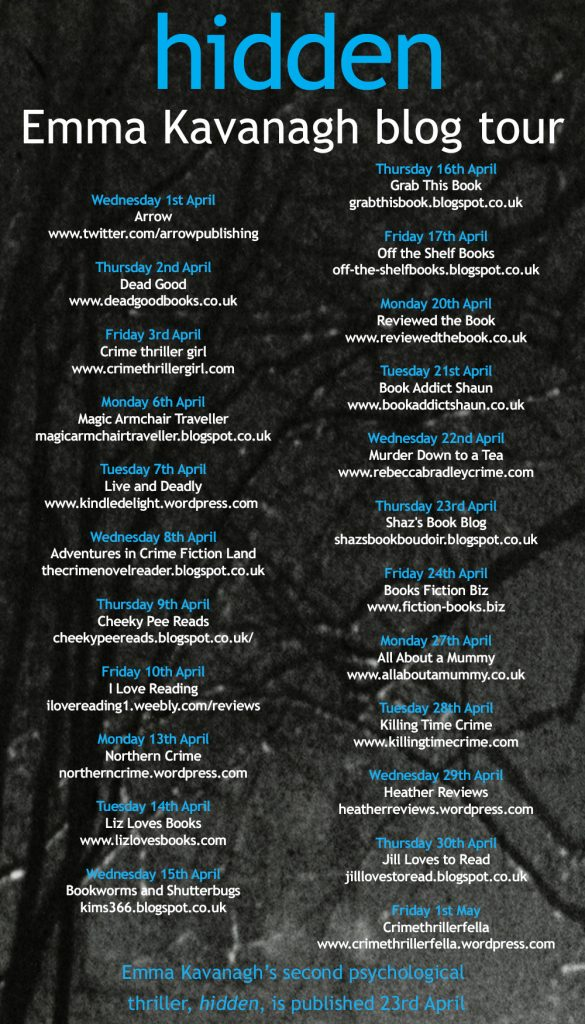 Image Of The Blog Tour Schedule For Hidden By Emma Kavanagh