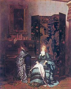 A Chinese Coromandel screen is seen in the oil painting Chopin (1873) by Albert von Keller.