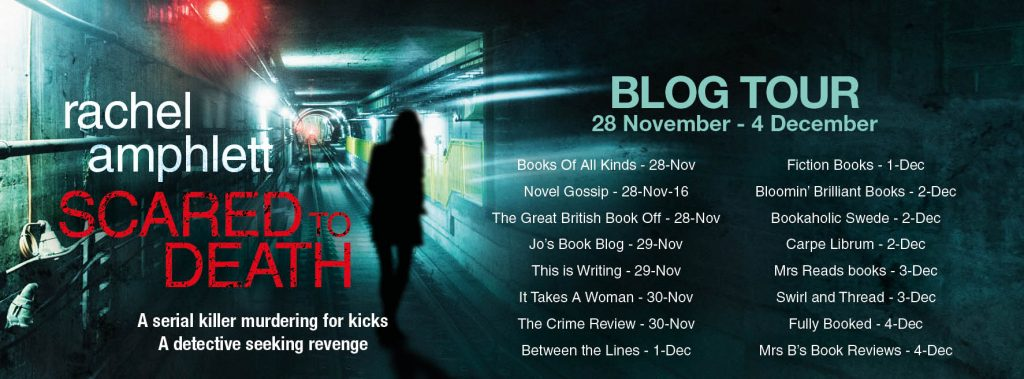 Promotional Image Of The Blog Tour For 'Scared To Death' By Rachel Amphlett