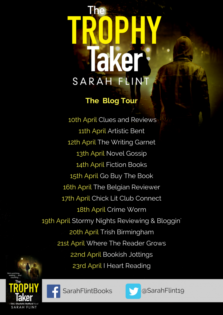 The Trophy Taker By Sarah Flint Image Of The Blog Tour Banner