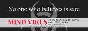 Image Of Blog Tour Badge For 'Mind Virus' By Charles Kowalski