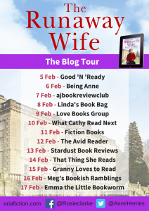 Image Of The Blog Tour Banner For 'The Runaway Wife' By Rosie Clarke