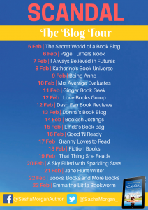 Image Of Blog Tour Banner For 'Scandal' By Sasha Morgan
