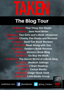 Image Of The Blog Tour Banner For The Book 'Taken' By Monty Marsden
