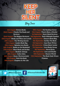 Image Of The Blog Tour Banner For The Book 'Keep Her Silent' By Author Theresa Talbot