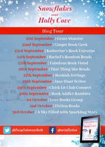 Image Of The Blog Tour Banner For The Book 'Snowflakes Over Holly Cove' By Author Lucy Coleman