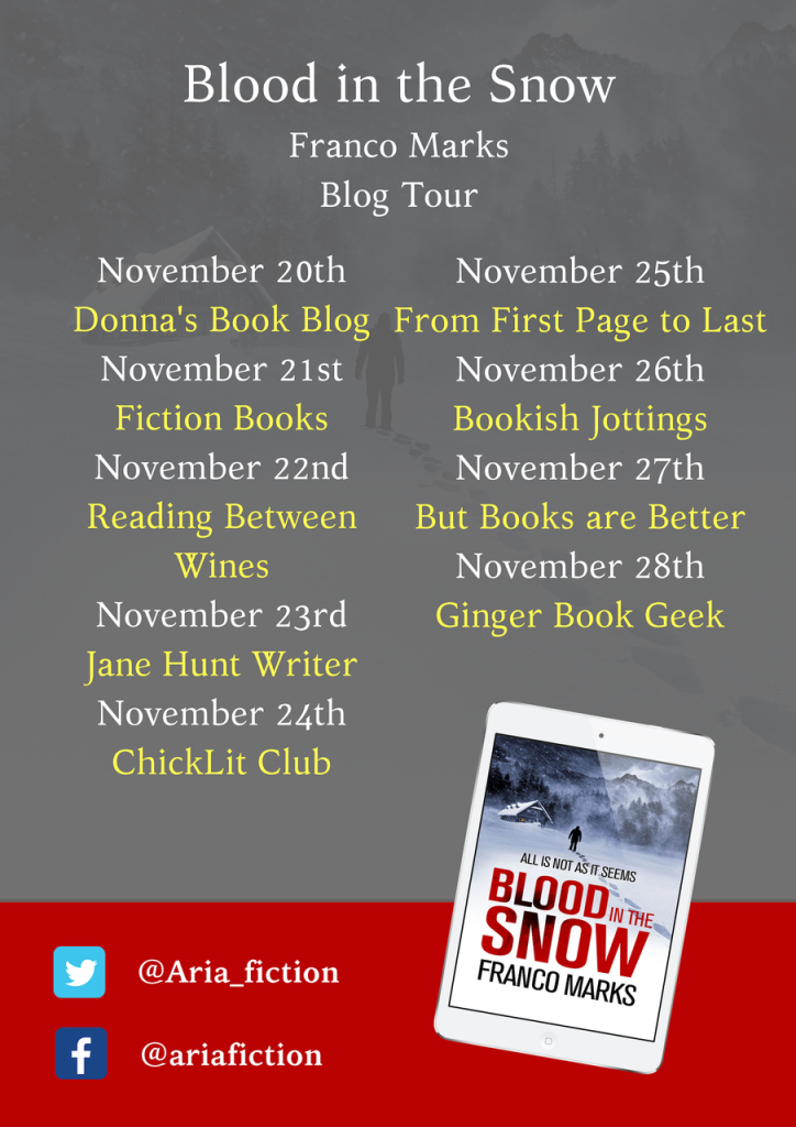 Image Of The Blog Tour Banner For The Book 'Blood In The Snow' By Author Franco Marks