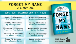 Image Of the Blog Tour Banner For The Book 'Forget My Name' By Author J.S. Monroe