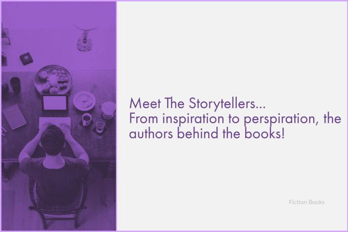 Image of person typing - caption reads 'Meet the storytellers ... from inspiration to perspiration, the authors behind the books' - generic image for meet the authors posts