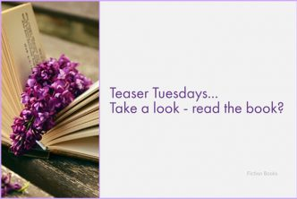 An open book led on a table with a lilac flower resting on the open pages - used for Teaser Tuesday posts - caption reads 'Take A Look - Read The Book?'