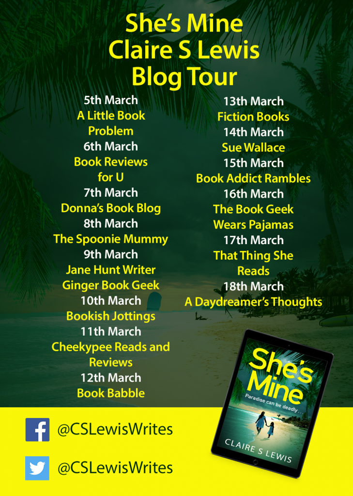 Image of the Blog Tour banner for the book 'She' Mine' by author Claire S. Lewis