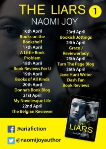 Image #1 of the blog tour banner for the book 'The Liars' by author Naomi Joy