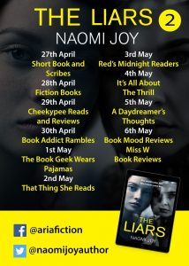 Image #2 of the blog tour banner for the book 'The Liars' by author Naomi Joy