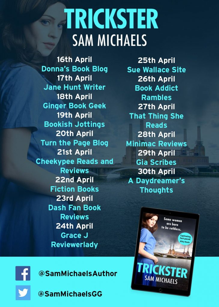 Image of the Blog Tour banner for the book 'Trickster' by author Sam Michaels