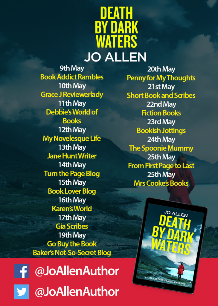 Image of the Blog Tour banner for the book 'Death By Dark Waters' by author Jo Allen