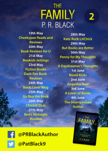 Image of Blog Tour banner #2 for the book 'The Family' by author P.R. Black