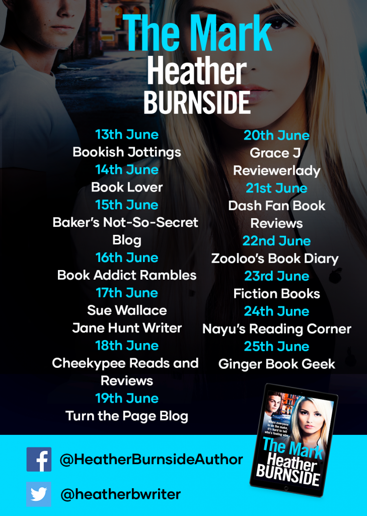 Image of the Blog Tour banner for the book 'The Mark' by author Heather Burnside
