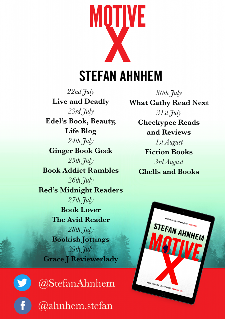 Image of the Blog Tour banner for the book 'Motive X' by author Stefan Ahnhem