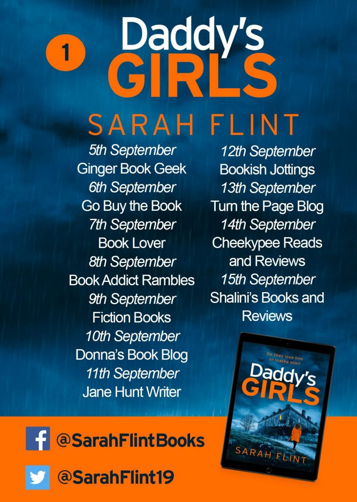 Image of the Blog Tour banner 1, for the book 'Daddy's Girls' by author Sarah Flint