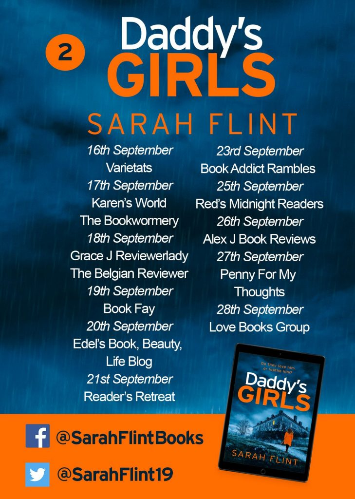 Image of the Blog Tour banner 2, for the book 'Daddy's Girls' by author Sarah Flint
