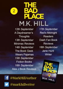 Image of Blog Tour Banner #2 for the book 'The Bad Place' by M.K. Hill