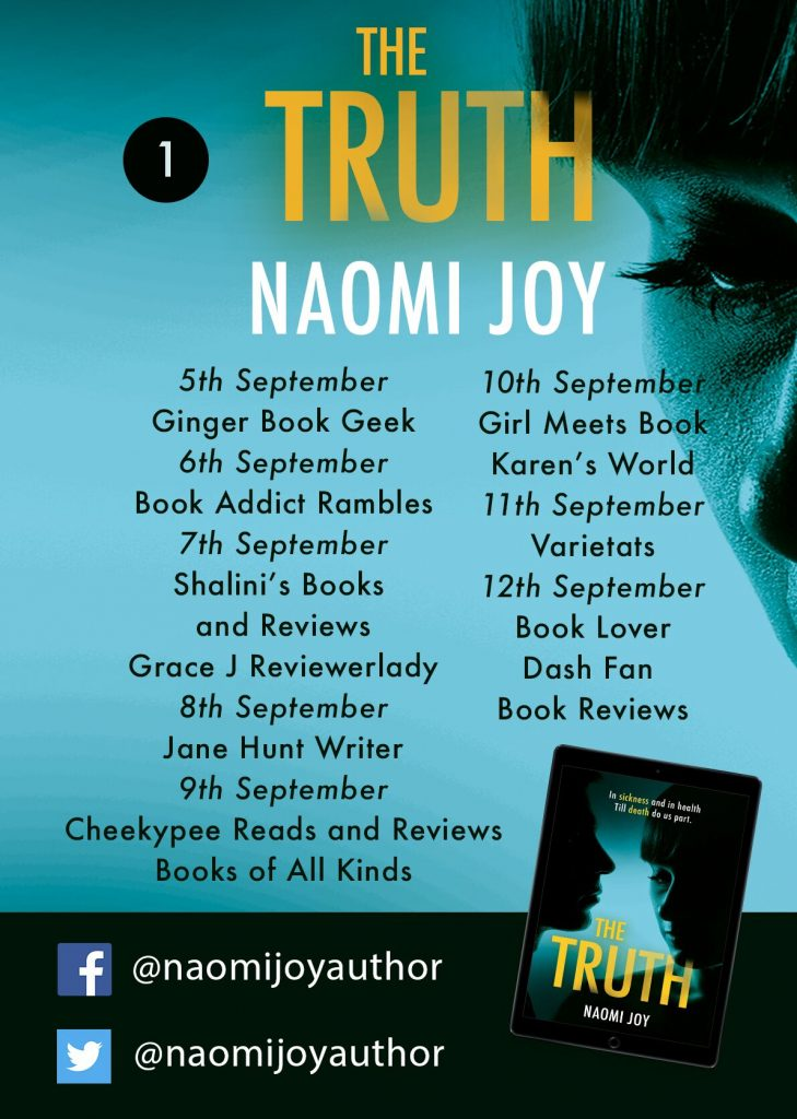 Image of part one of the Blog Tour Banner, for the book 'The Truth' by author Naomi Joy