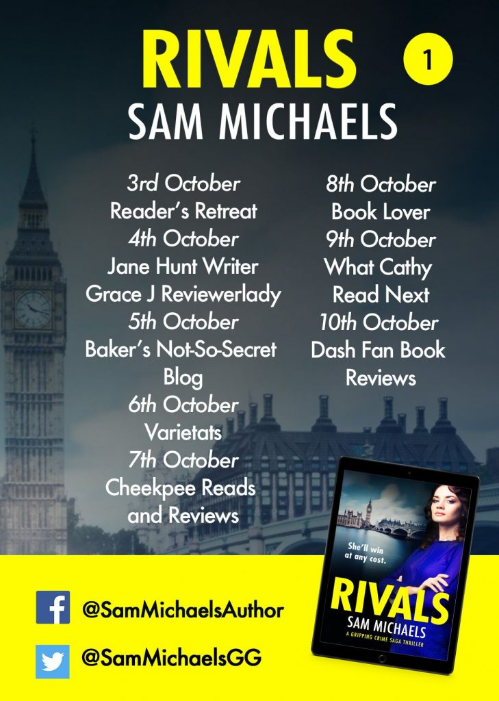 Image of blog tour banner 1 for the book 'Rivals' by author Sam Michaels