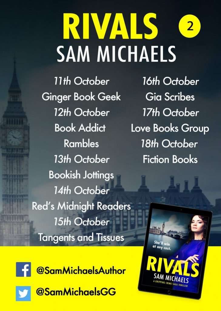 Image of blog tour banner 2 for the book 'Rivals' by author Sam Michaels