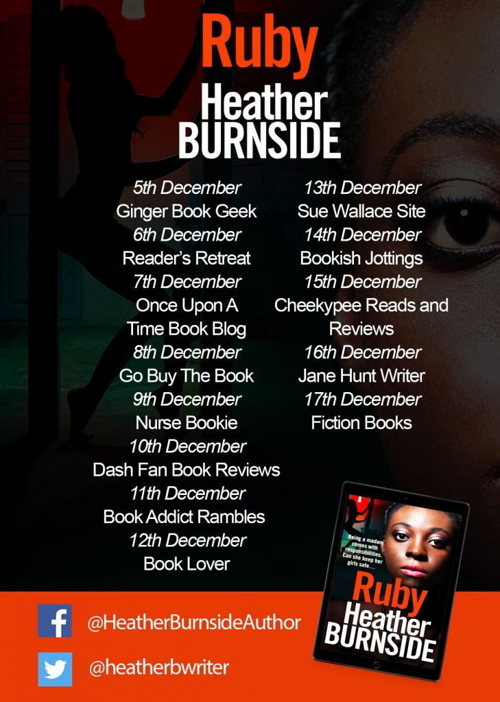 Image of the blog tour banner, for the book 'Ruby' by author Heather Burnside