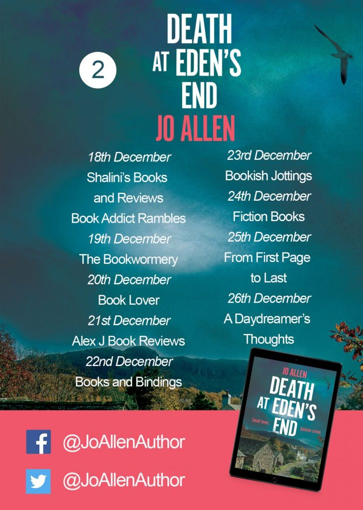 Image of the blog tour banner for the book 'Death At Eden's End' by author Jo Allen
