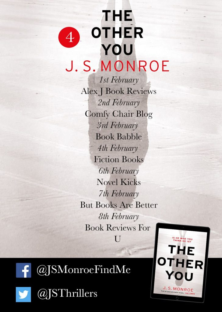 Image of the blog tour banner #4 for the book 'The Other You. by author J.S. Monroe