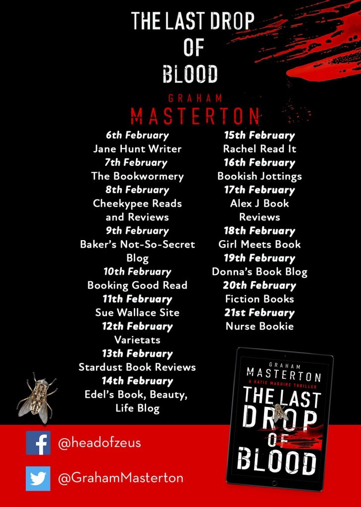 Image of the Blog Tour banner for the book 'The Last Drop Of Blood' by author Graham Masterton