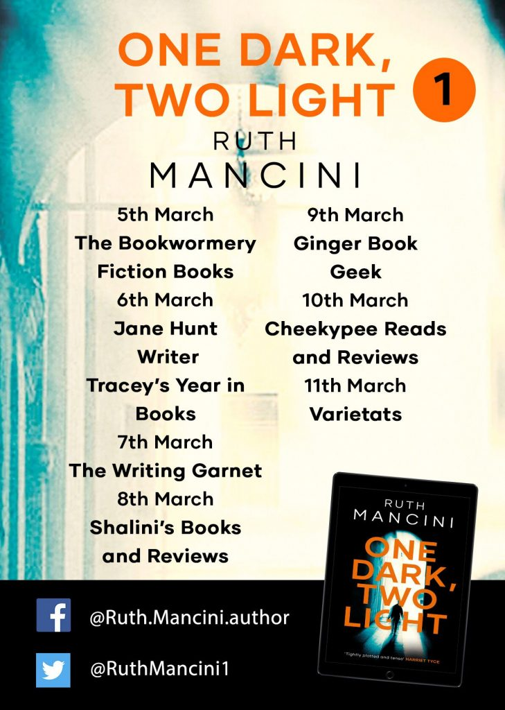 Image of the blog tour banner for the book 'One Dark, Two Light' by author Ruth Mancini