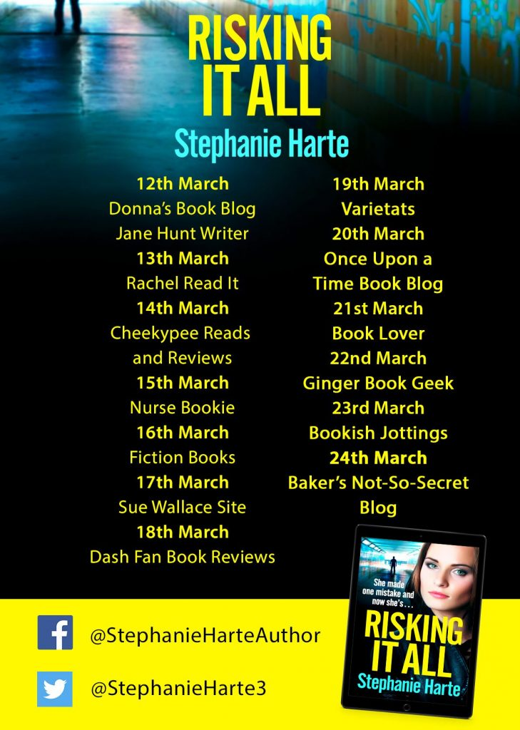 Image of the Blog Tour Banner for the book 'Risking It All' by author Stephanie Harte