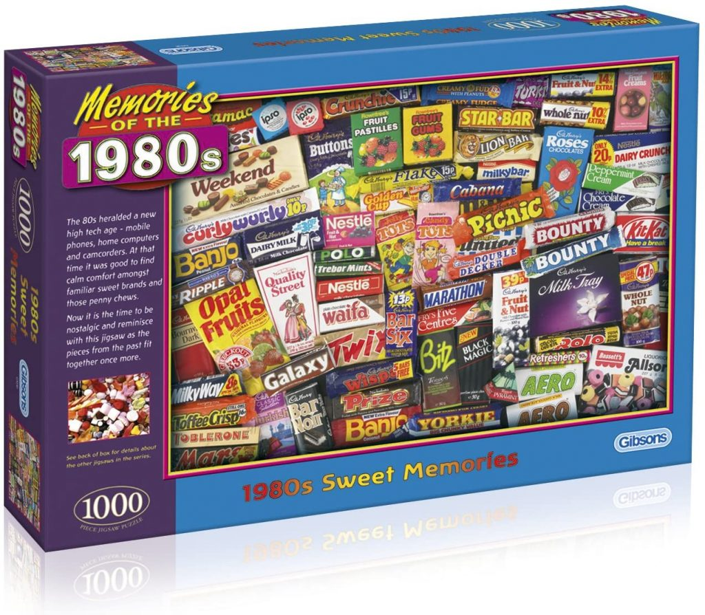 Full box image of the jigsaw puzzle Gibsoons 1980s Sweet Memories