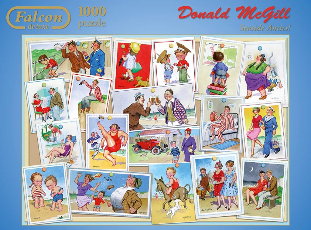 Image of a jigsaw puzzle box face-on showing images of suacy seaside postcards - Seaside Antics by Donald McGill - Falcon de luxe jigsaw puzzles