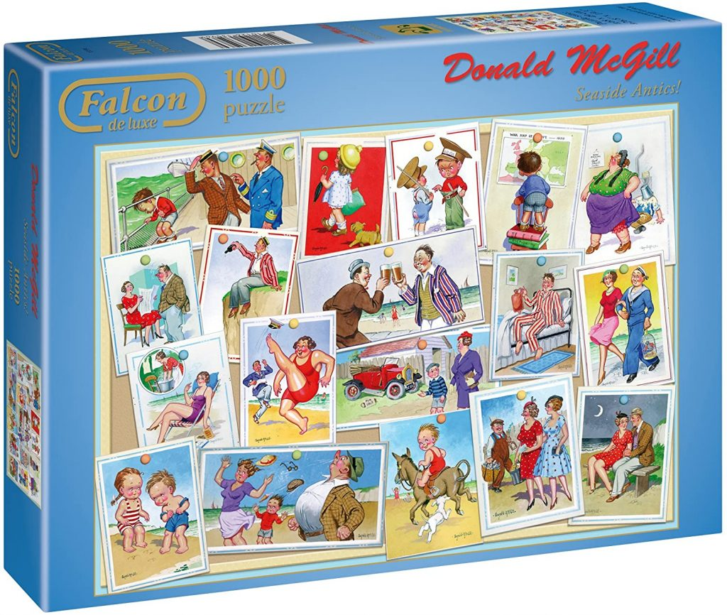 Image of a jigsaw puzzle box showing saucy postcards - Seaside Antics by Donald McGill - Falcon de luxe jigsaw puzzles