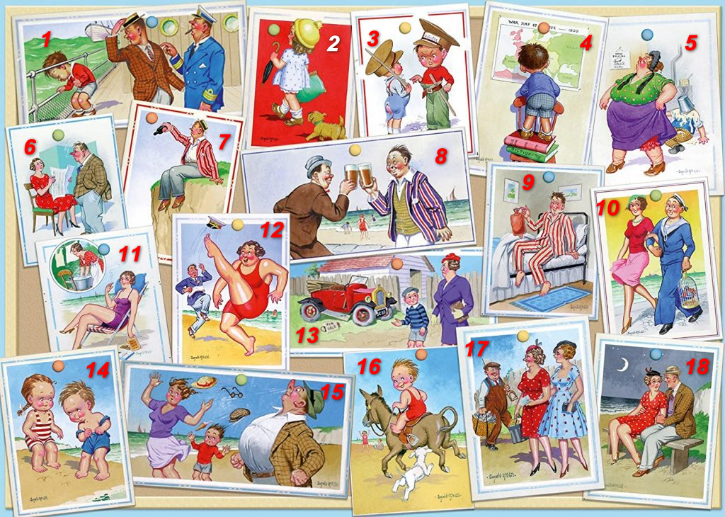 Image of jigsaw 'Saucy Summer Postcards' with images numbered for captions