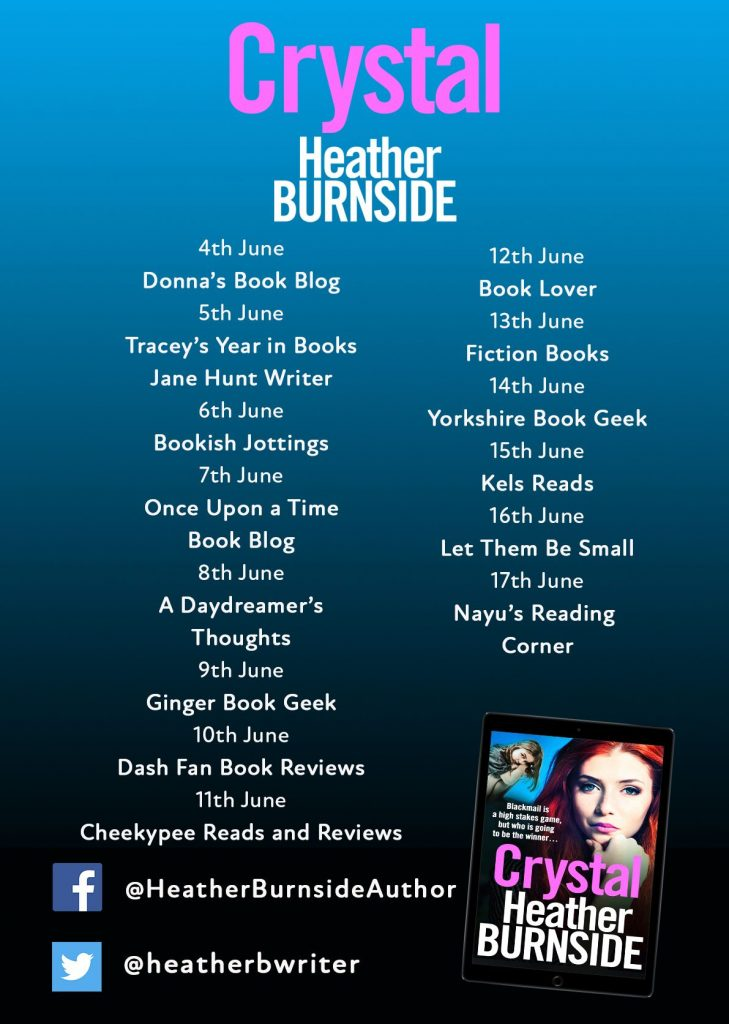 Image of the blog tour banner for the book 'Crystal' by author Heather Burnside