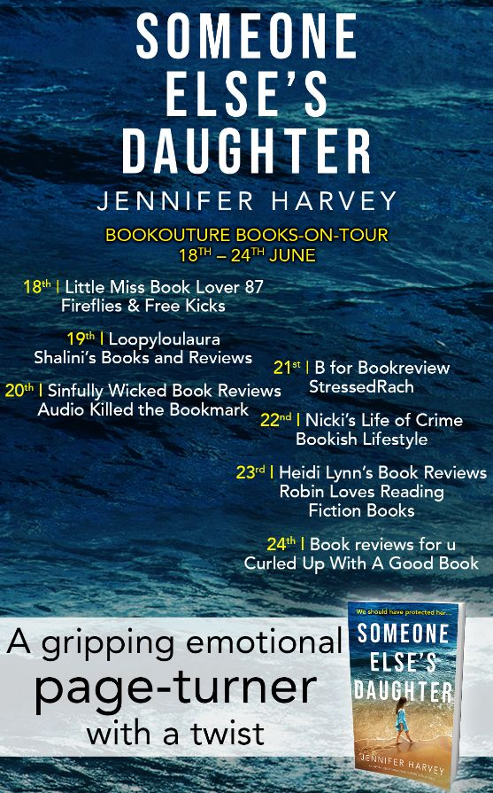 Image of the Books On Tour banner for the book 'Someone Else's Daughter' by author Jennifer Harvey